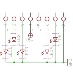 Baustellen Lauflicht 5 LED ein / aus  / ATtiny45 IC